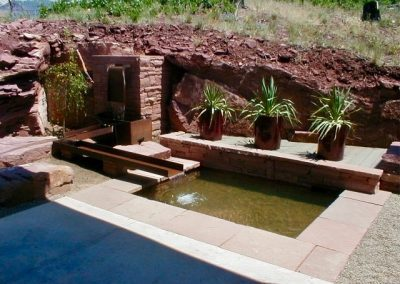 paver patio with water feature