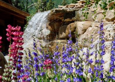 waterfall landscape design with flower