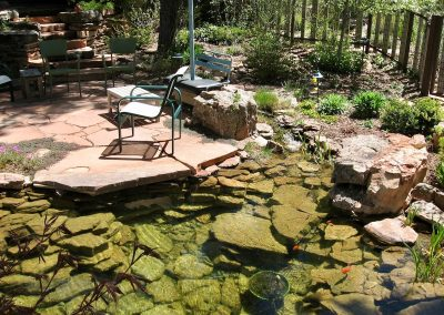 patio with pond