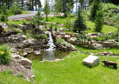 landscape design with pond and waterfall