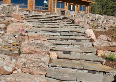 flagstone stairway with retaining walls