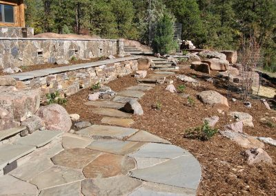 low maintenance landscape design with retaining walls
