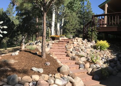 flagstone stairs with plant and tree landscaping