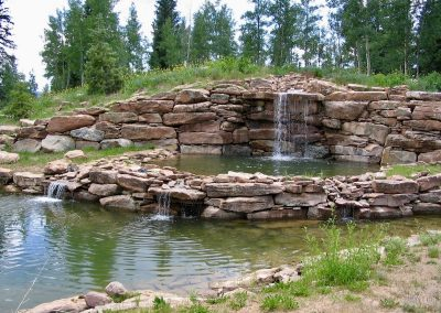 tiered pond with dual waterfall feature