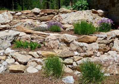 landscape design with retaining walls