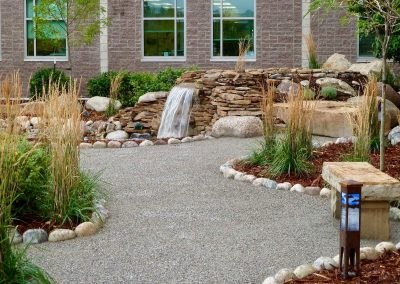 landscape design with waterfall feature