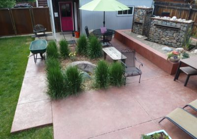 landscaped patio with stone