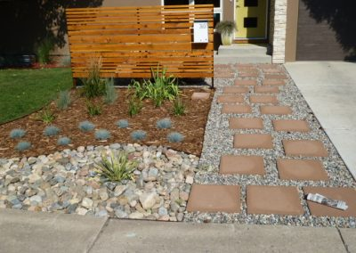 landscaped front lawn area