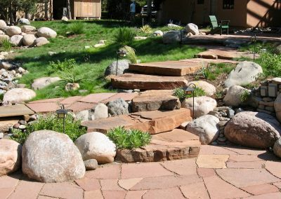 landscape design with flagstone stairway